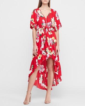Express Floral Flutter Sleeve Hi-Lo Maxi Dress