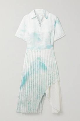 ANDERSSON BELL Asymmetric Layered Printed Satin And Crepe De Chine Midi Dress - Mint