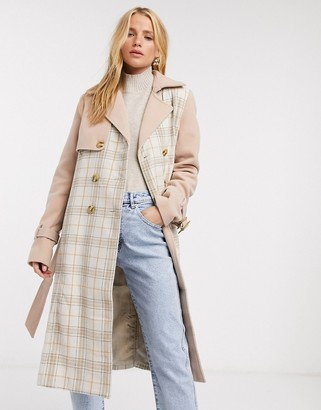 Fashion Union trench coat in check