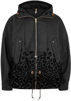 Kolor Charcoal Leopard-print Wool Blend Jacket