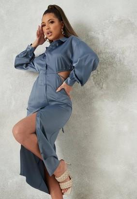 Missguided Blue Satin Cut Out Midi Shirt Dress