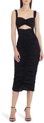 Dolce & Gabbana Cutout Ruched Stretch Silk Body-Con Midi Dress