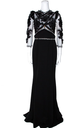 Dolce & Gabbana Black Crystal Embellished Sheer Tulle Paneled Gown M