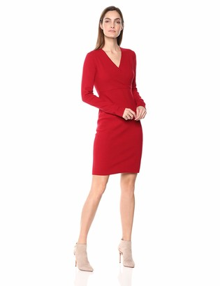 Lark & Ro Women's Long Sleeve Faux Wrap Sheath Sweater Dress