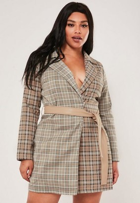 Missguided Plus Size Brown Plaid Blazer Dress