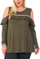 Celeste Olive Contrast-Seam Cutout-Shoulder Top - Plus