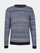 Burton Burton Navy And Ecru Textured Knitted Jumper