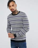Asos Cotton Fairisle Jumper In Blue