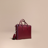 Burberry The Slim Barrow Bag In London Leather With Border Detail, Red