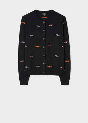 Women's Black 'Ropes' Embroidered Cotton And Wool-Blend Cardigan