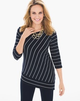 Chico's Striped Asymmetrical Top