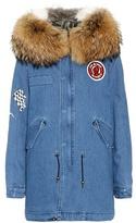 Mr & Mrs Italy Printed denim fur-trimmed coat