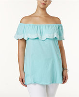 Style&Co. Style & Co Plus Size Embroidered Off-The-Shoulder Top, Created for Macy's