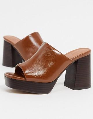 ASOS DESIGN Hypnotise chunky platform mules in tan