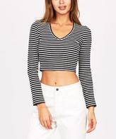 Agent Ninetynine Rib Long Sleeve V Crop Stripe