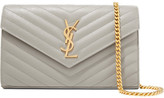 Saint Laurent Monogramme Mini Quilted Textured-leather Shoulder Bag - Gray