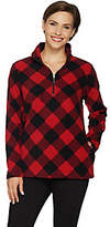 Denim & Co. Plaid Fleece Long Sleeve Half-ZipPullover