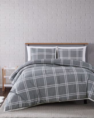 Truly Soft Leon Plaid Grey 3Pc Comforter Set