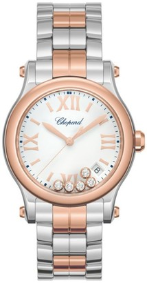 Chopard Happy Sport 18K Rose Gold, Stainless Steel & Diamond Bracelet Watch