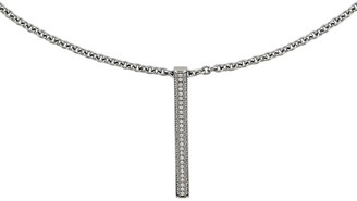 """Steel By Design Steel by Design Polished Crystal Bar Pendant with 22"""" Chain"""