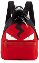 Fendi Monster Nylon Backpack with Fur Crest, Red