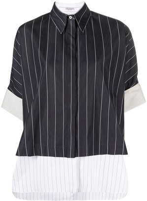 Brunello Cucinelli Layered-Look Pinstripe Shirt