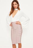 Missguided Purple Premium Bandage Side Panel Midi Skirt