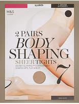 M&S Collection 2 Pair Pack 7 Denier Secret SlimmingTM Sheer Body shaper Tights