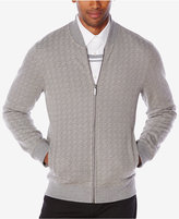 Perry Ellis Men's Jacquard Zip-Front Sweater
