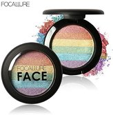 Eyeshadow ,Vovotrade Rainbow Highlight Eyeshadow Palette Baked Blush Face Shimmer Color (A)