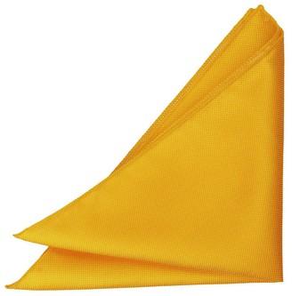 DQT Men Plain Solid Check Sunflower Gold Pocket Square