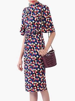 Jolie Moi Diamond Print High Neck Midi Dress, Multi