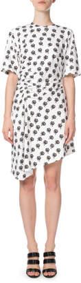 Kenzo Asymmetrical Rose-Print Ruched Short Dress