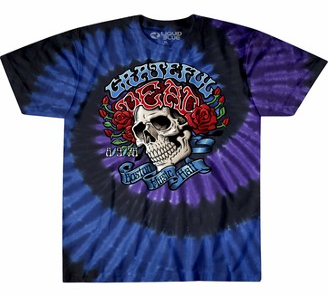 Liquid Blue Unisex Adult Grateful Dead Boston Music Hall Spiral Tie Dye T-Shirt T Shirt