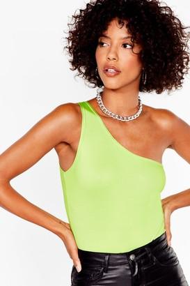 Nasty Gal Womens One Shoulder 'Em Who's Boss High-Leg Bodysuit - Lime