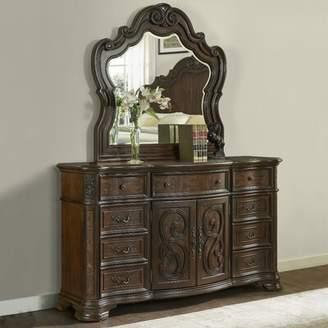 Astoria Grand Valerian 9 Drawer Combo Dresser with Mirror Astoria Grand