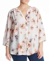NYDJ Plus Floral Print Pleat-Back Blouse