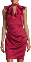 Jax Ruffled Mock-Neck Sheath Dress, Wine