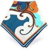Blue and Copper Ornamental Printed Silk Square Scarf