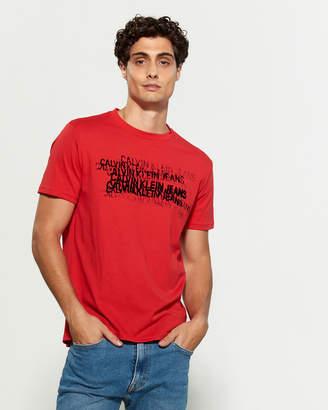 Calvin Klein Jeans Logo Velour Short Sleeve Tee