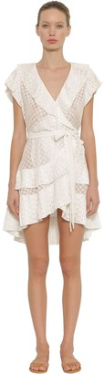 Zimmermann Pleated Polka Dot Wrap Mini Dress