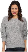 MICHAEL Michael Kors Long Sleeve Knitted Fur Crew Neck