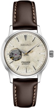 Seiko Women's Presage Automatic Brown Leather Strap Watch 33.8mm - A Limited Edition