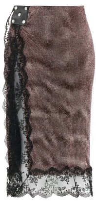 Christopher Kane Crystal And Lace Trim Crepe Skirt - Pink