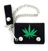 PLB Men's Wallet Black Leather Embroidered Green Marijuana Pot Leaf w/ Chain
