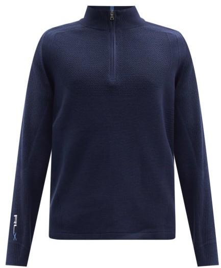 Polo Ralph Lauren Logo-embroidered High-neck Wool-blend Sweater - Navy