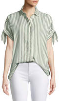 The Great Tie-Sleeve Button-Down Striped Cotton Shirt