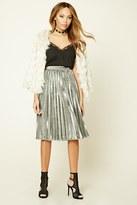 Forever 21 FOREVER 21+ Metallic Pleated Skirt