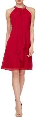 Slny Bead Braided Halter Chiffon Dress