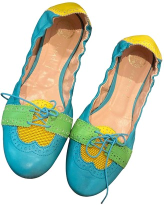 Versace Turquoise Leather Ballet flats